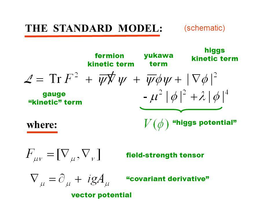 THE STANDARD MODEL: where: