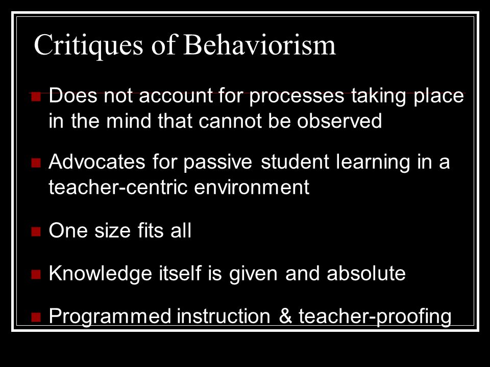 Critiques of Behaviorism