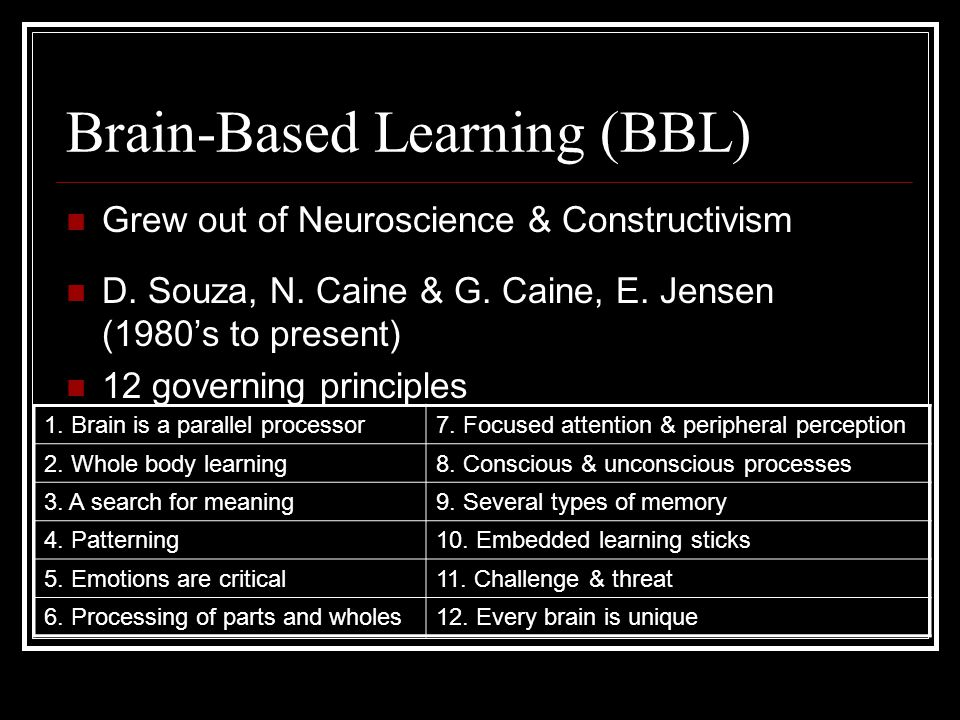 Brain-Based Learning (BBL)