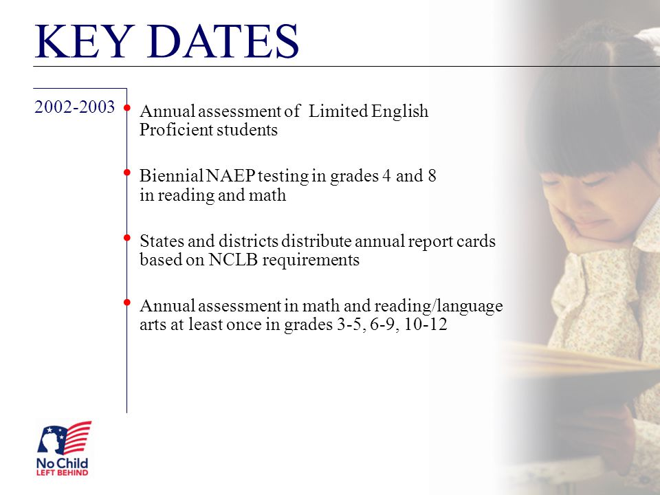 KEY DATES Annual assessment of Limited English Proficient students. Biennial NAEP testing in grades 4 and 8 in reading and math.