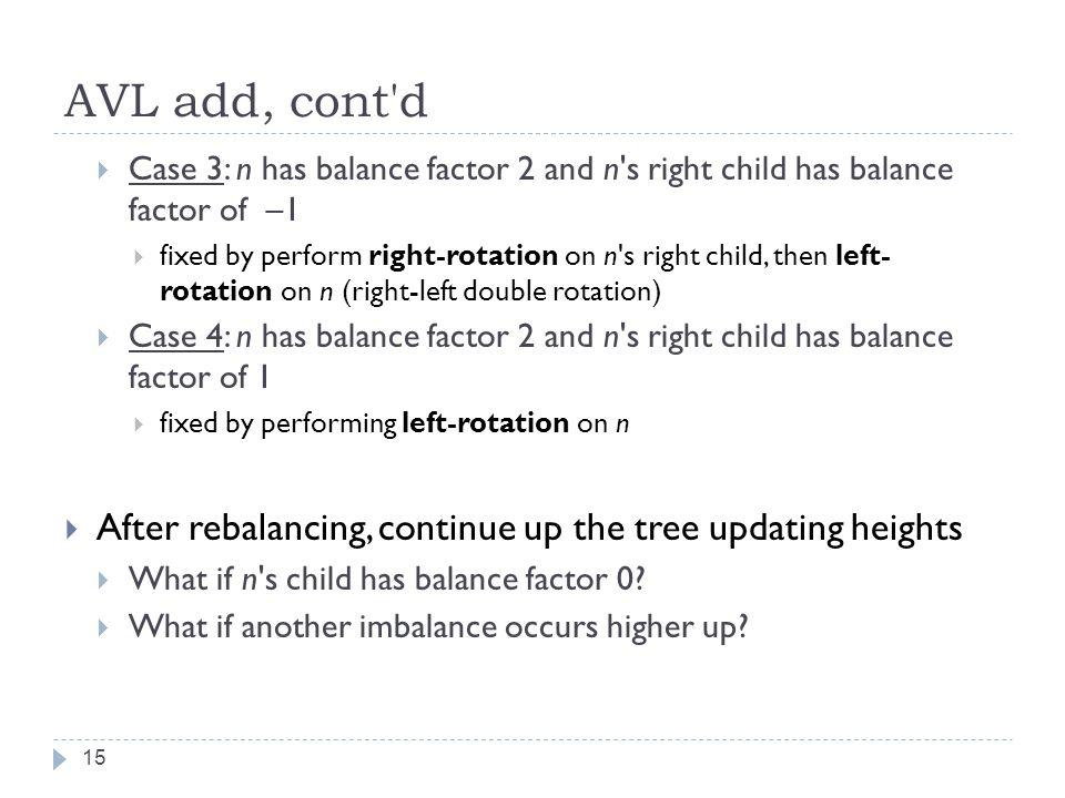 AVL add, cont d Case 3: n has balance factor 2 and n s right child has balance factor of –1.