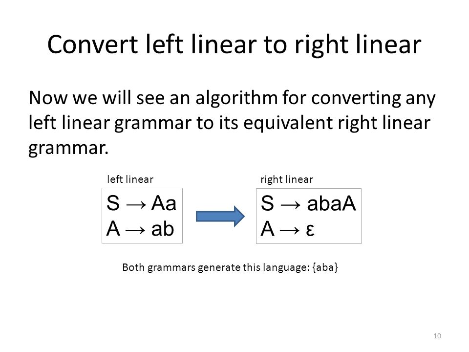 Convert left linear to right linear