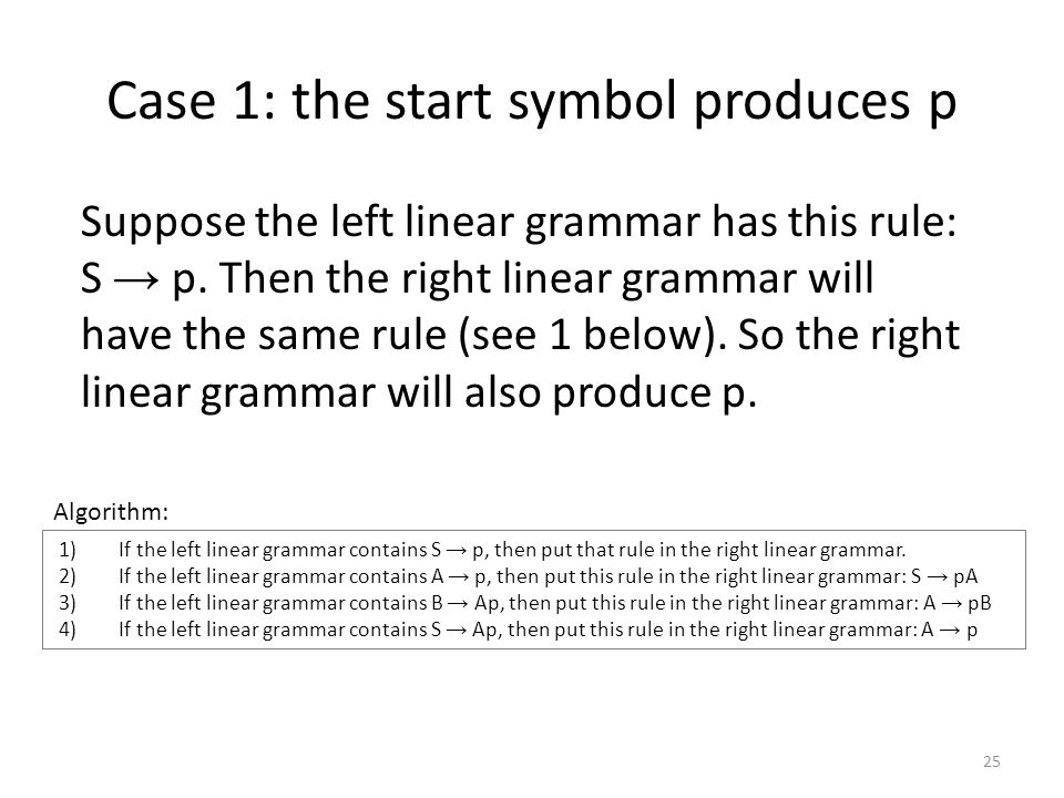 Case 1: the start symbol produces p