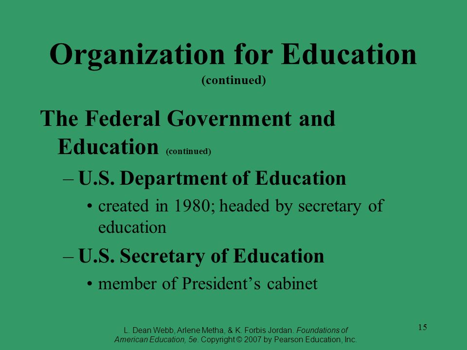 Organization for Education (continued)