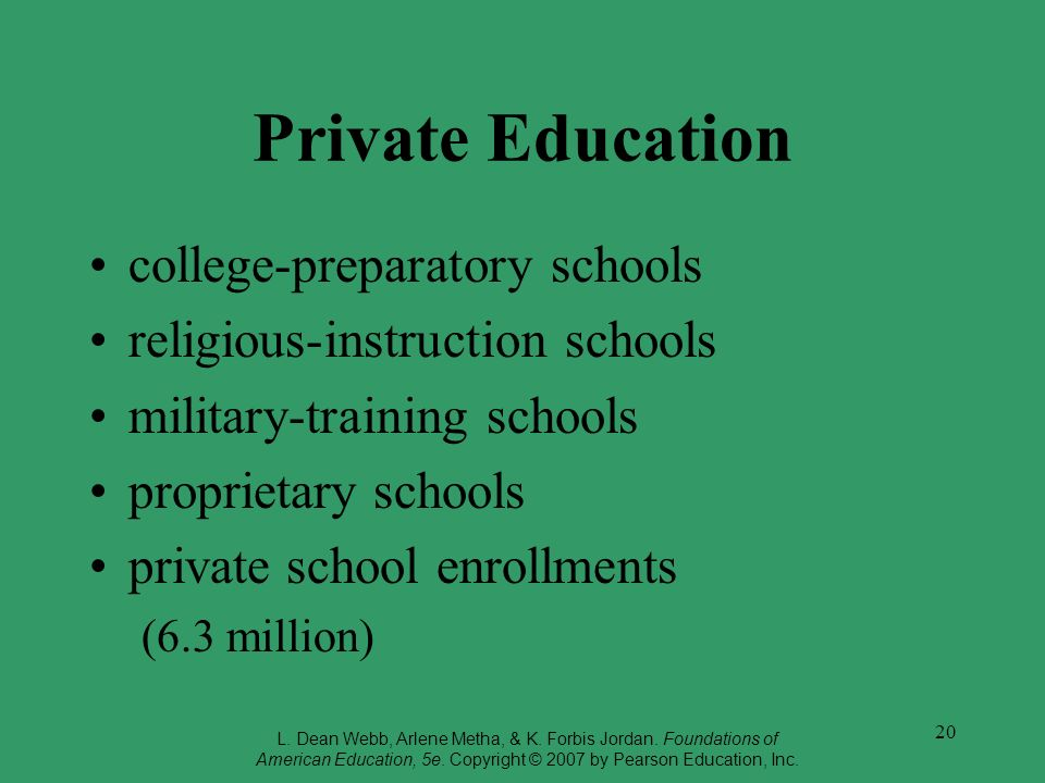 Private Education college-preparatory schools