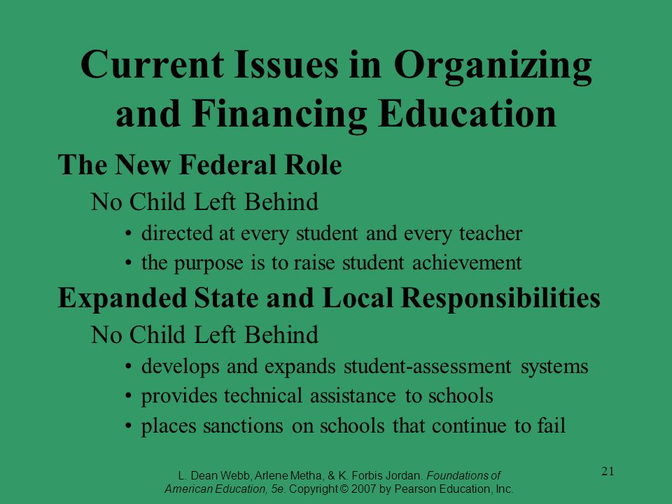 Current Issues in Organizing and Financing Education