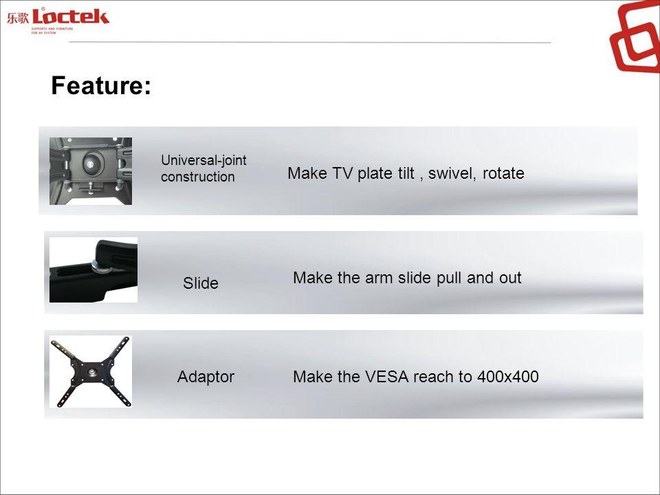Feature: Make TV plate tilt , swivel, rotate