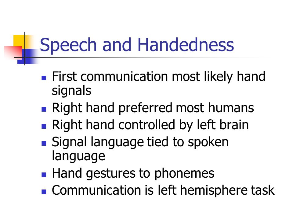 Speech and Handedness First communication most likely hand signals