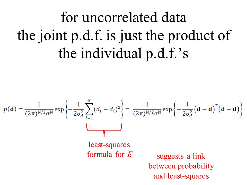 for uncorrelated data the joint p. d. f