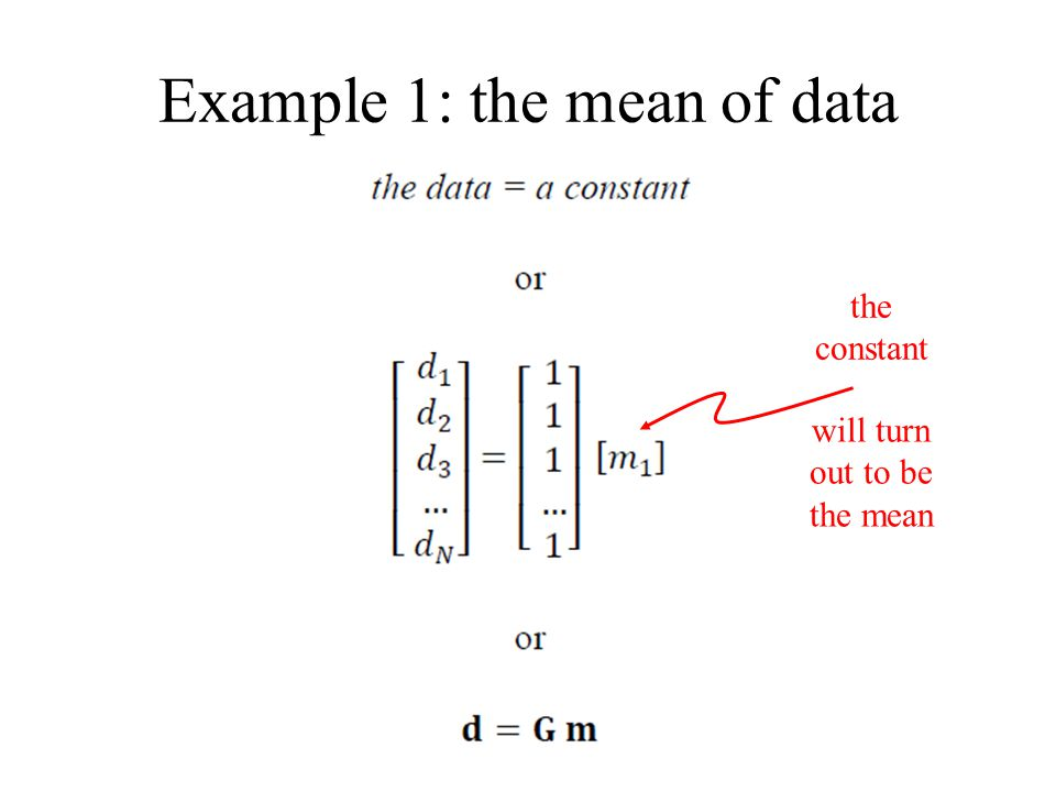 Example 1: the mean of data