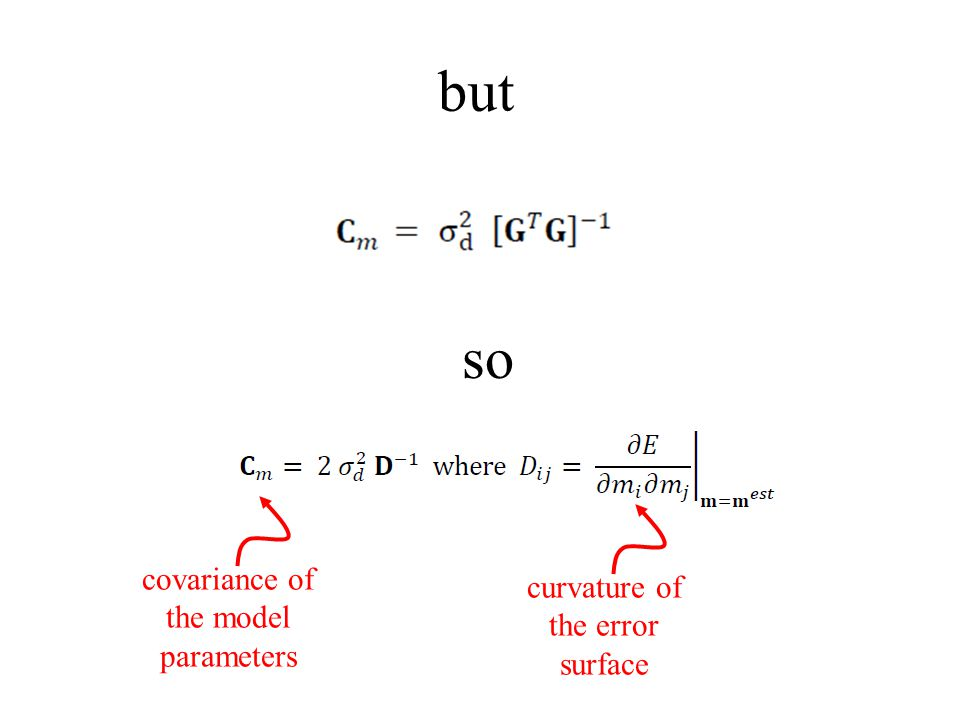 but so covariance of the model parameters