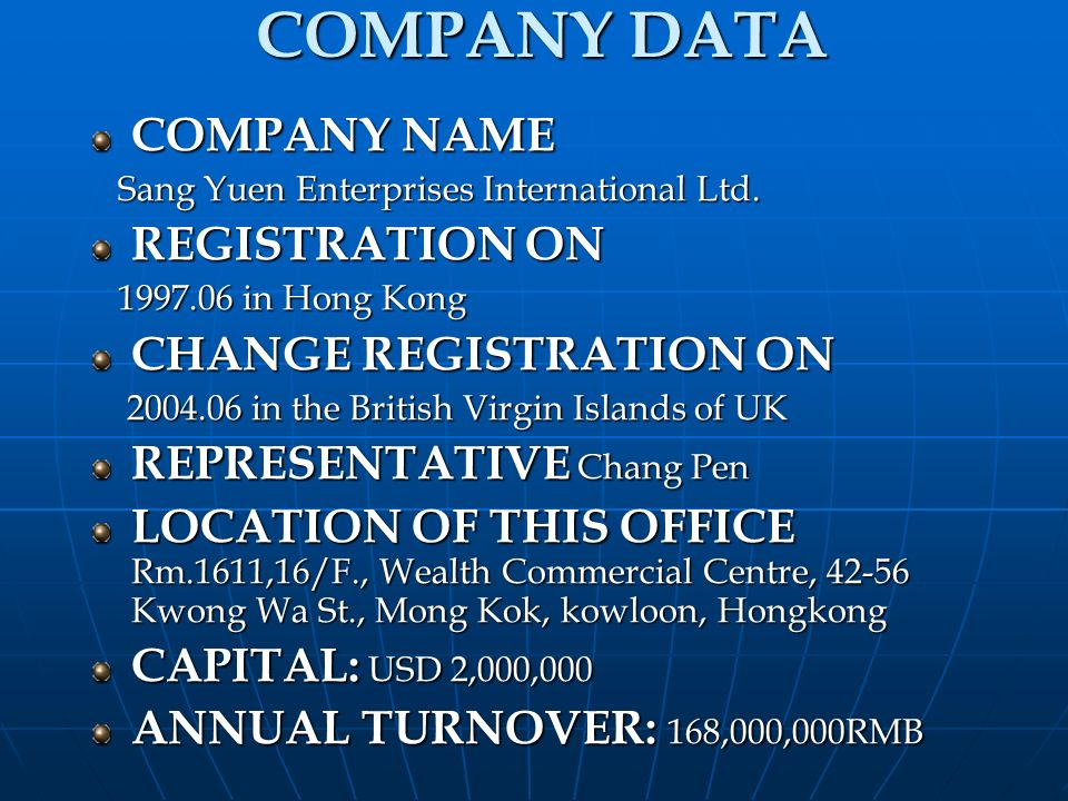 COMPANY DATA COMPANY NAME REGISTRATION ON CHANGE REGISTRATION ON