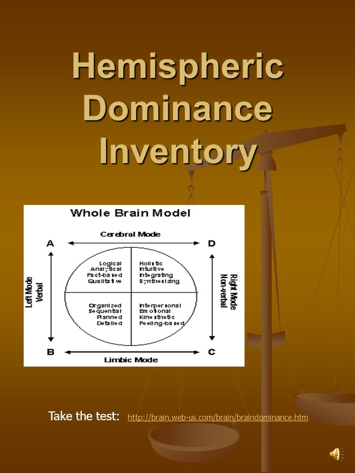 hemispheric dominance inventory Learning styles and hemispheric dominance - right or left brain: which is dominant in your family karen m gibson author's note: this is the second of two articles about how the differences between our own learning styles and right-brain/left-brain capabilities and that of our children can affect our home learning atmosphere.