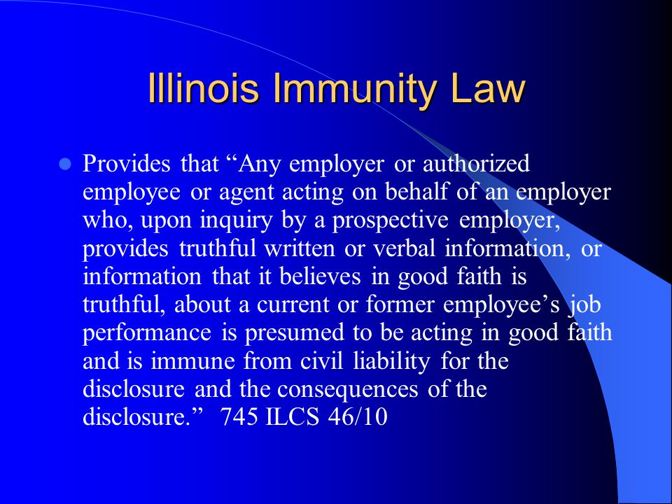 Illinois Immunity Law
