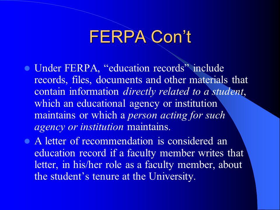 FERPA Con't
