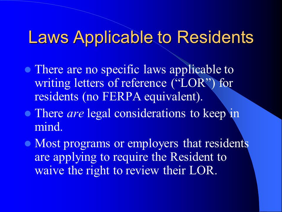 Laws Applicable to Residents