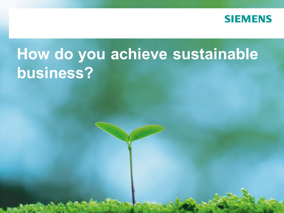 How do you achieve sustainable business