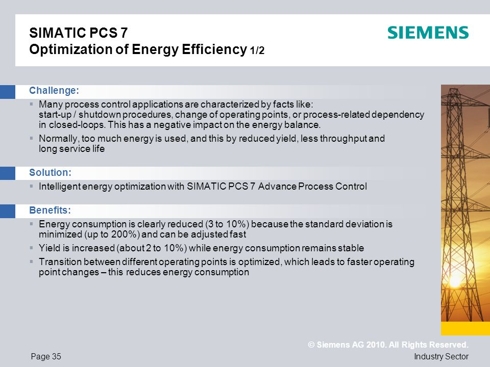 SIMATIC PCS 7 Optimization of Energy Efficiency 1/2