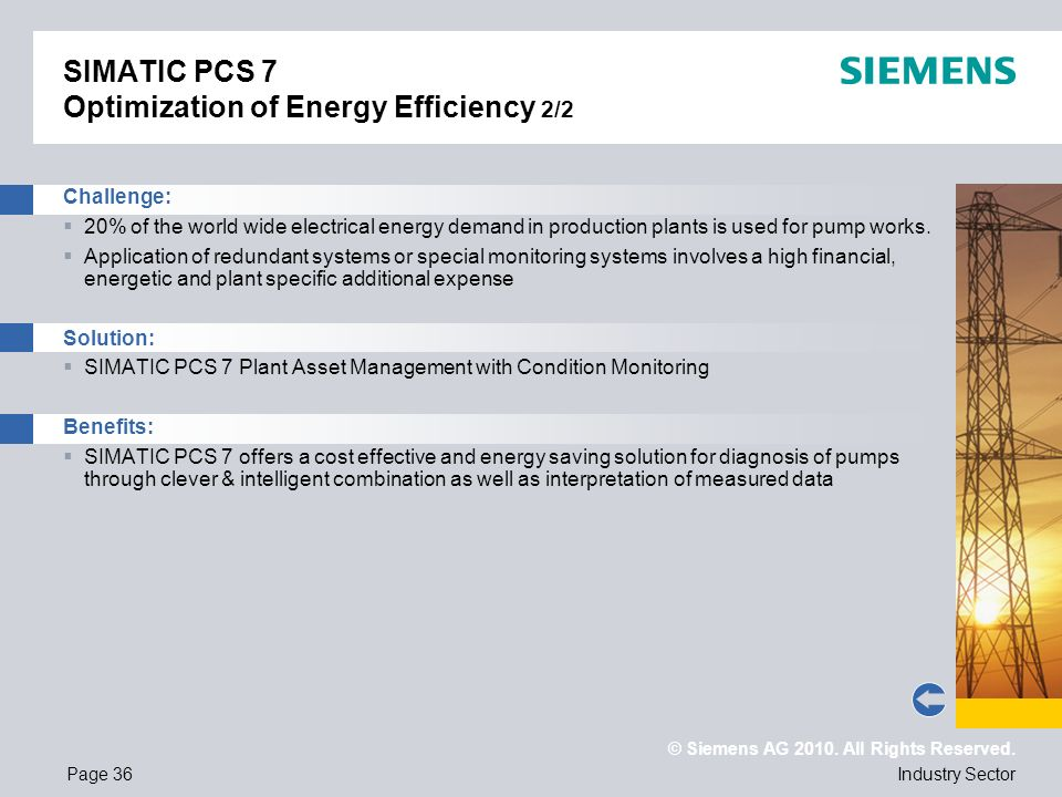 SIMATIC PCS 7 Optimization of Energy Efficiency 2/2