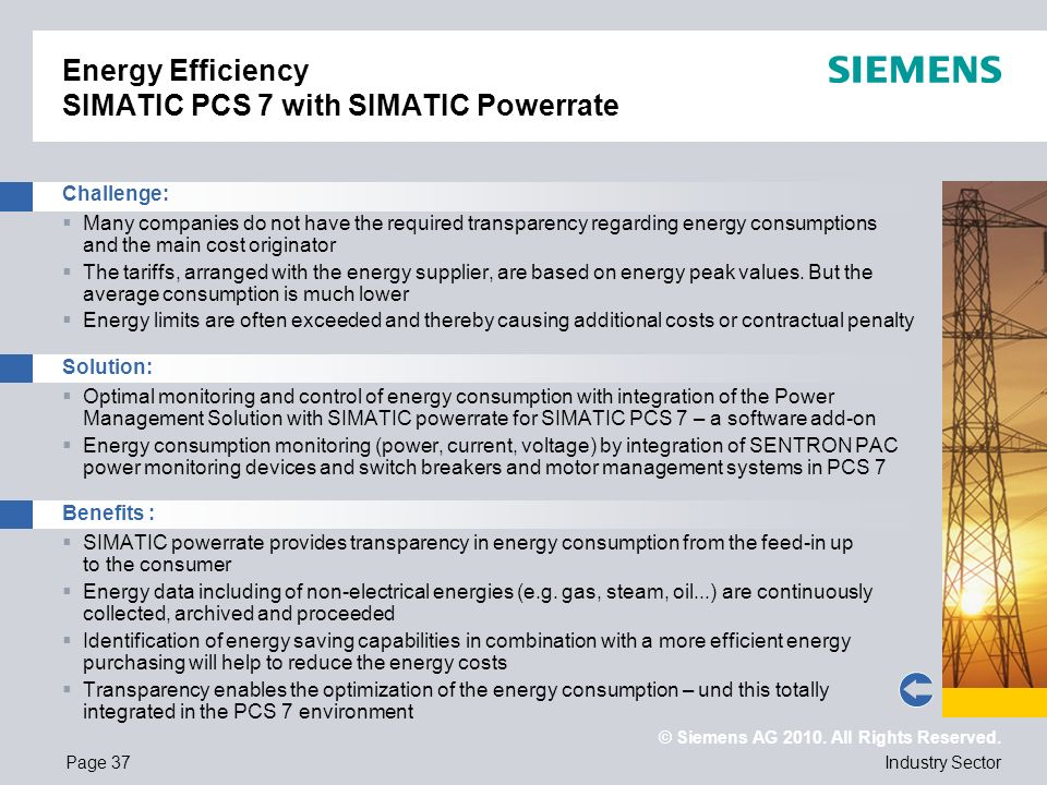 Energy Efficiency SIMATIC PCS 7 with SIMATIC Powerrate