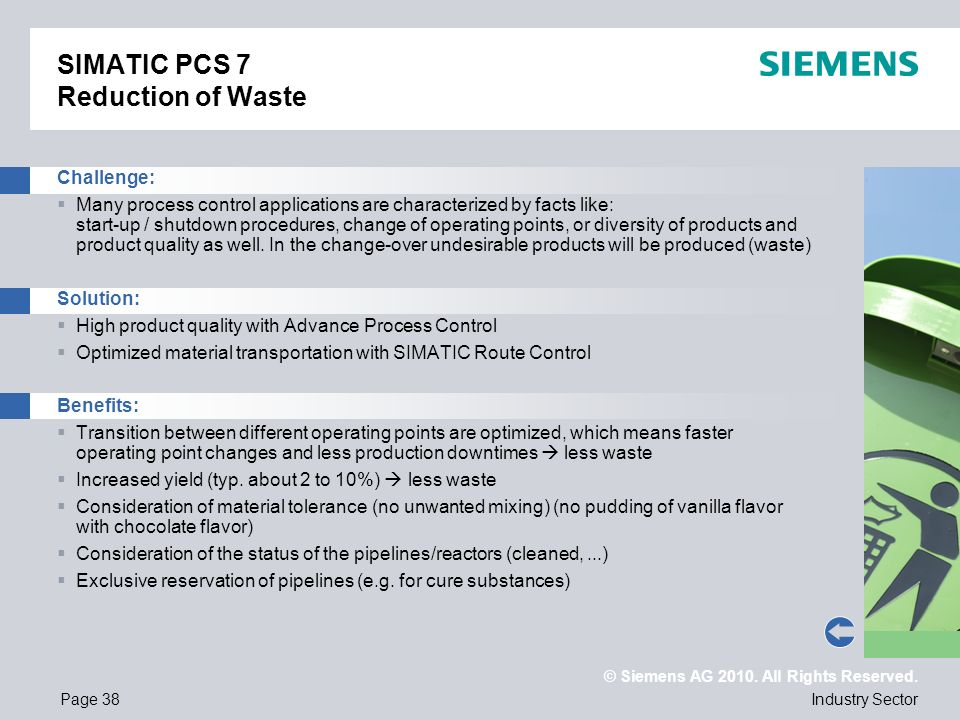 SIMATIC PCS 7 Reduction of Waste