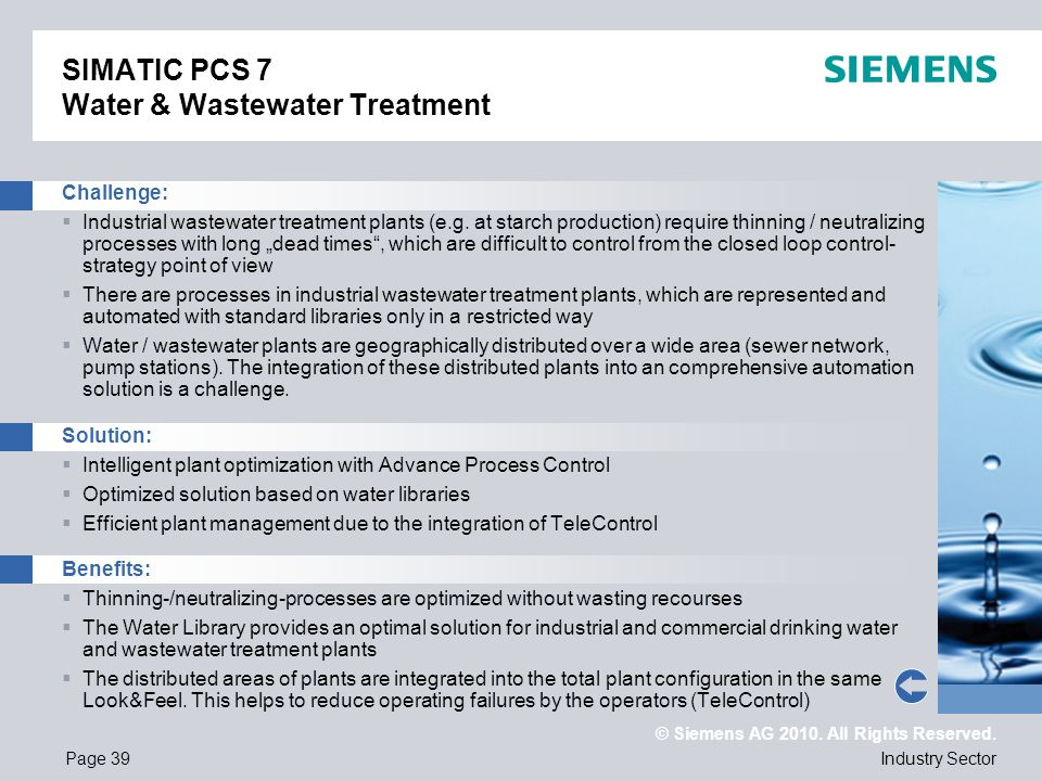 SIMATIC PCS 7 Water & Wastewater Treatment