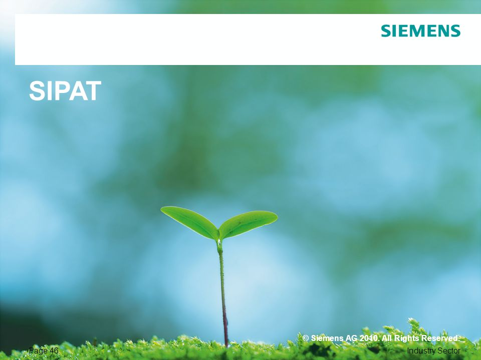 SIPAT © Siemens AG All Rights Reserved. Page 46 Industry Sector