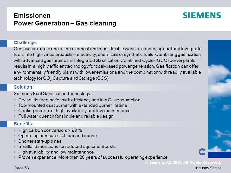 Emissionen Power Generation – Gas cleaning