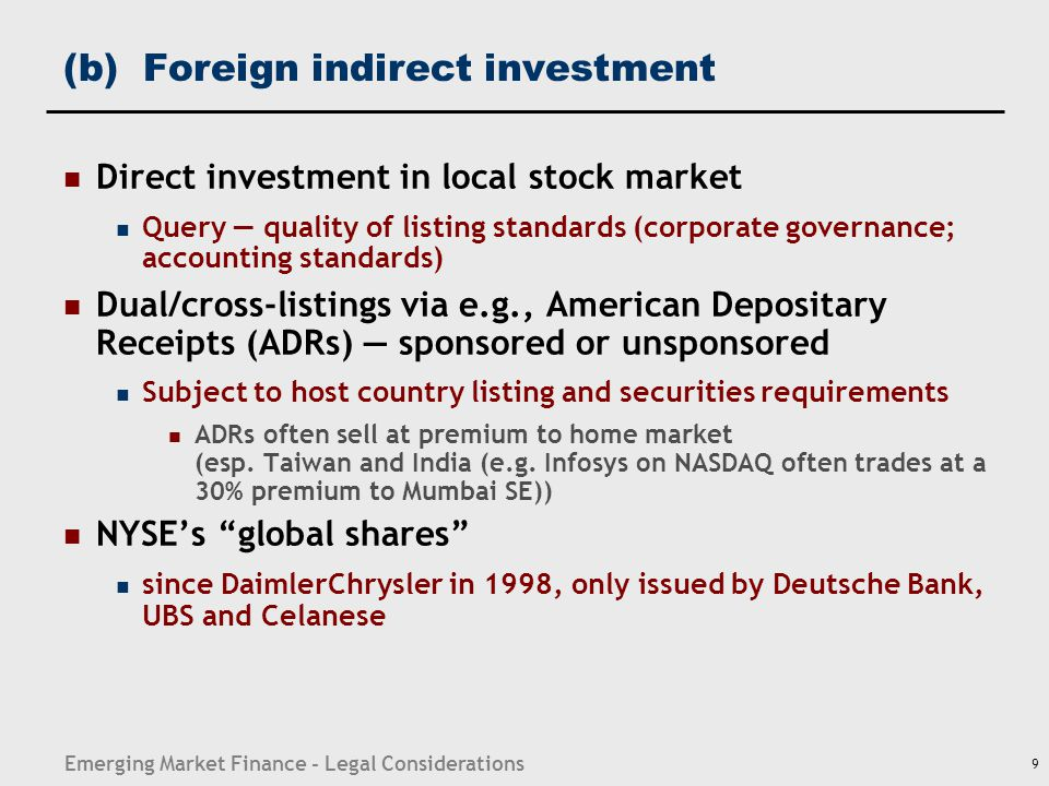 (b) Foreign indirect investment