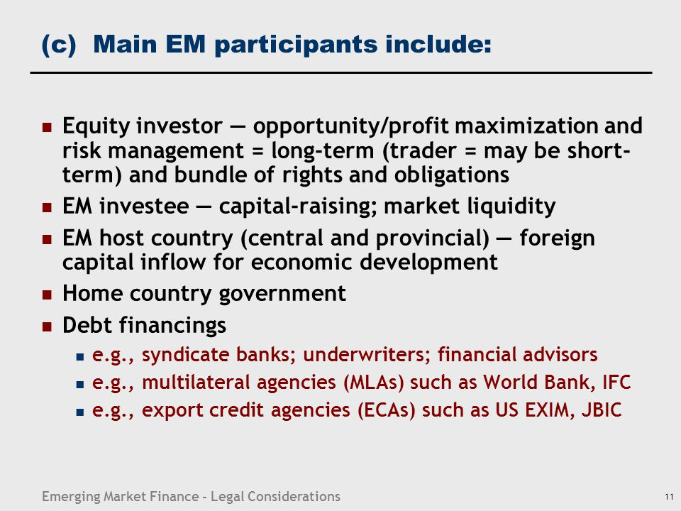 Outline Categories and participants of emerging market finance and investment. Main risk considerations.