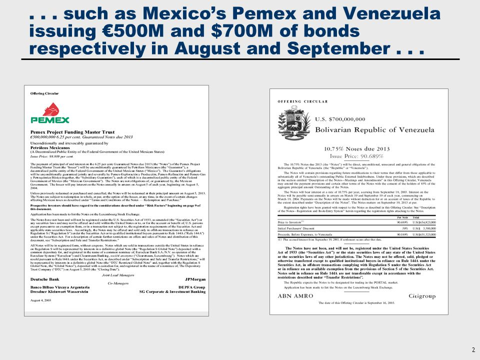 . . . and United Mexican States and China each issuing $1B of bonds in October . . .