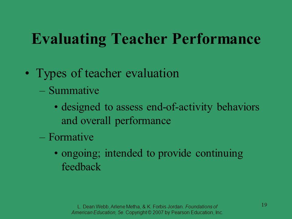 Evaluating Teacher Performance
