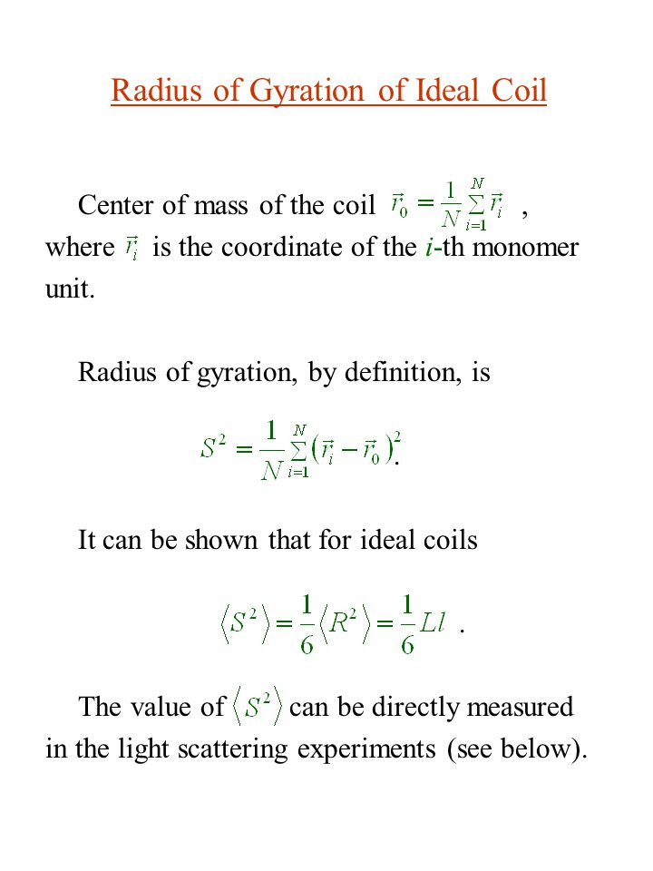 Radius of Gyration of Ideal Coil