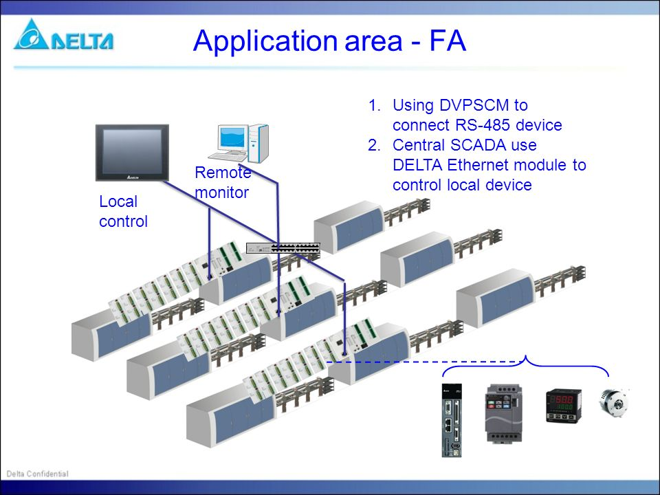 Application area - FA Using DVPSCM to connect RS-485 device