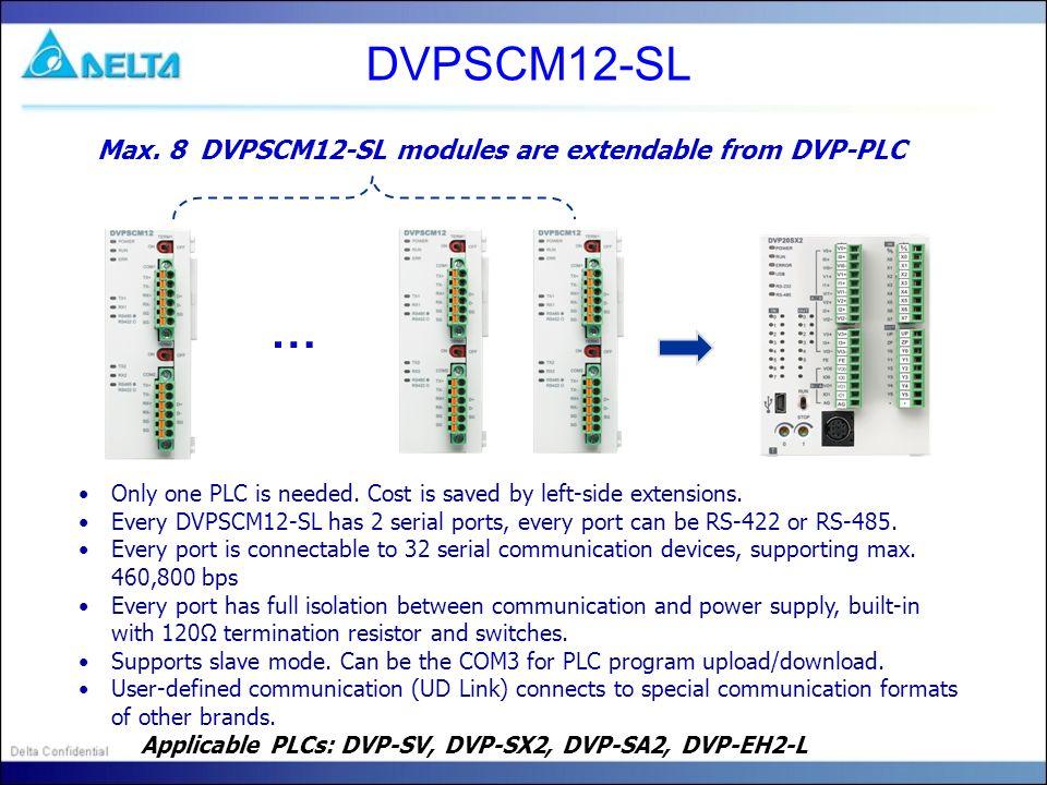 DVPSCM12-SL … Max. 8 DVPSCM12-SL modules are extendable from DVP-PLC