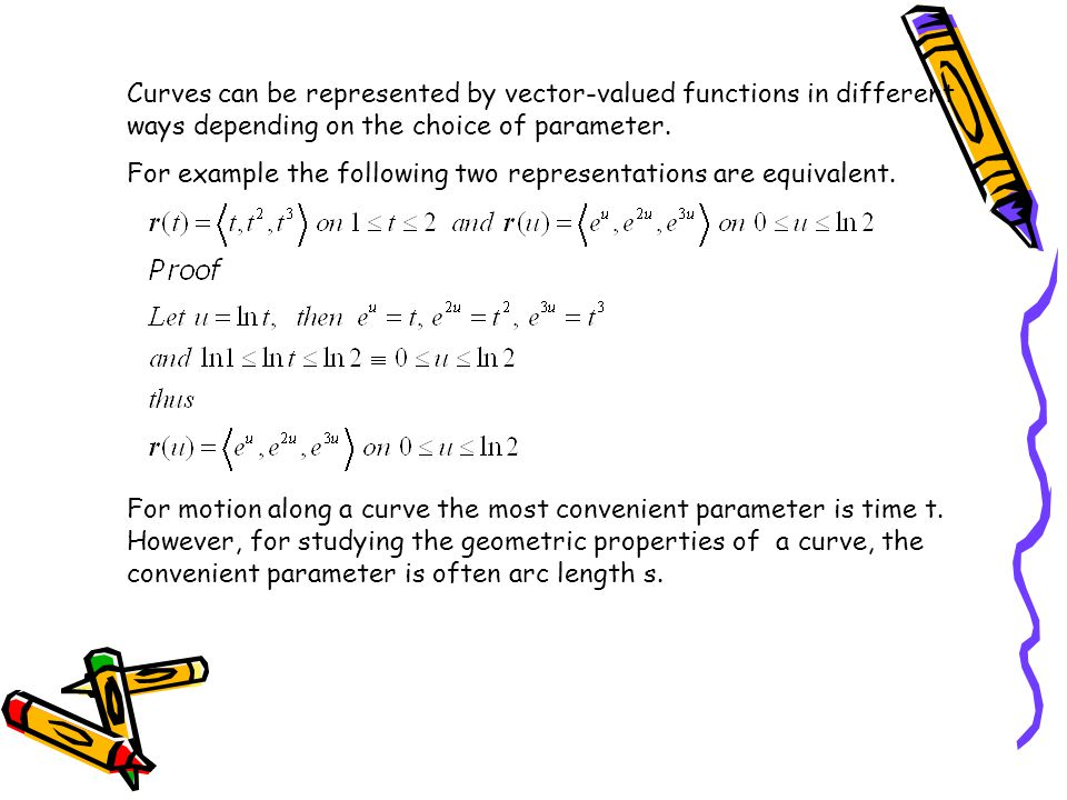 Curves can be represented by vector-valued functions in different ways depending on the choice of parameter.