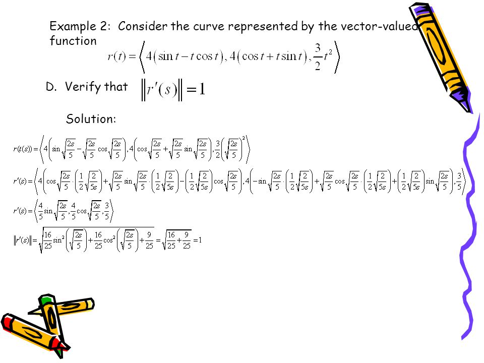 Example 2: Consider the curve represented by the vector-valued function
