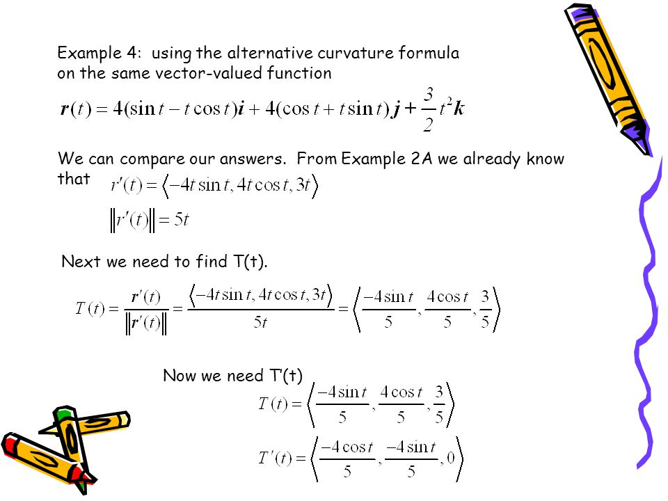 Example 4: using the alternative curvature formula on the same vector-valued function