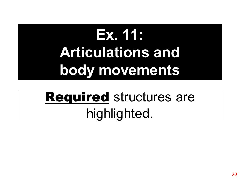 Ex. 11: Articulations and body movements