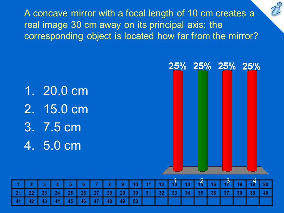 A concave mirror with a focal length of 10 cm creates a real image 30 cm away on its principal axis; the corresponding object is located how far from the mirror