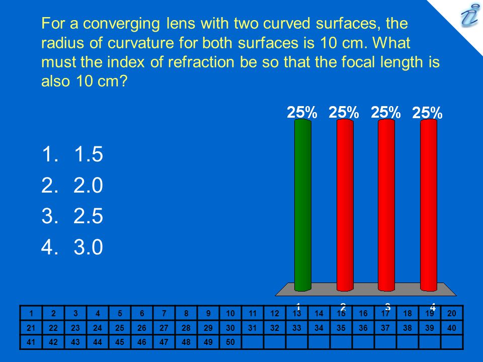 For a converging lens with two curved surfaces, the radius of curvature for both surfaces is 10 cm. What must the index of refraction be so that the focal length is also 10 cm
