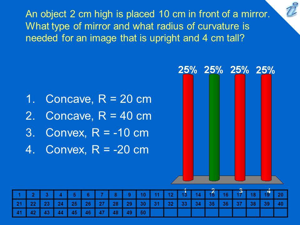 Concave, R = 20 cm Concave, R = 40 cm Convex, R = -10 cm