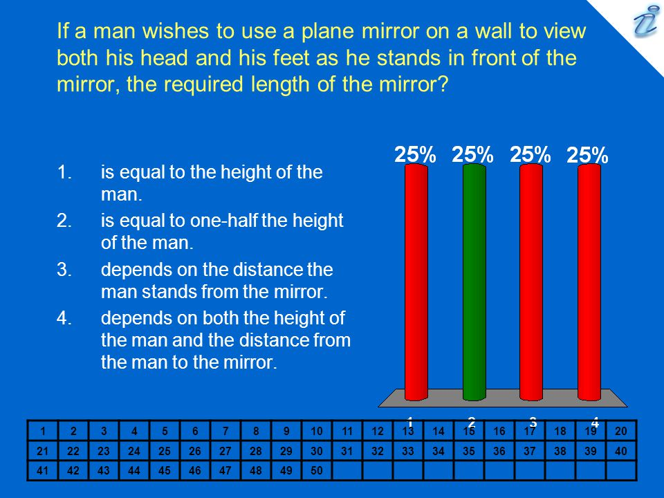 If a man wishes to use a plane mirror on a wall to view both his head and his feet as he stands in front of the mirror, the required length of the mirror