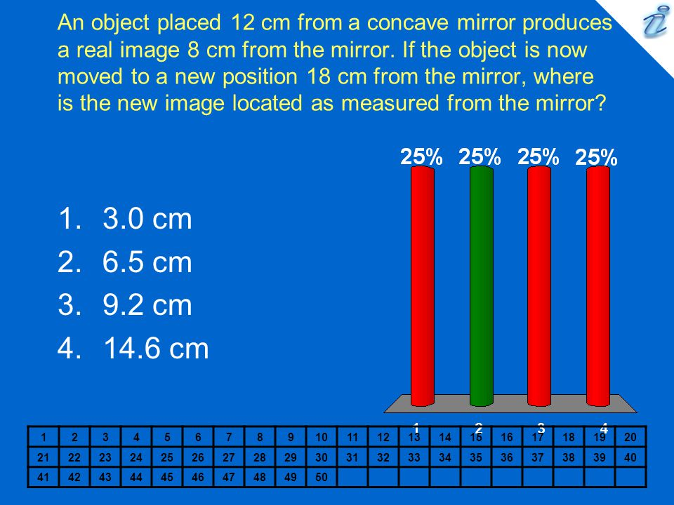 An object placed 12 cm from a concave mirror produces a real image 8 cm from the mirror. If the object is now moved to a new position 18 cm from the mirror, where is the new image located as measured from the mirror