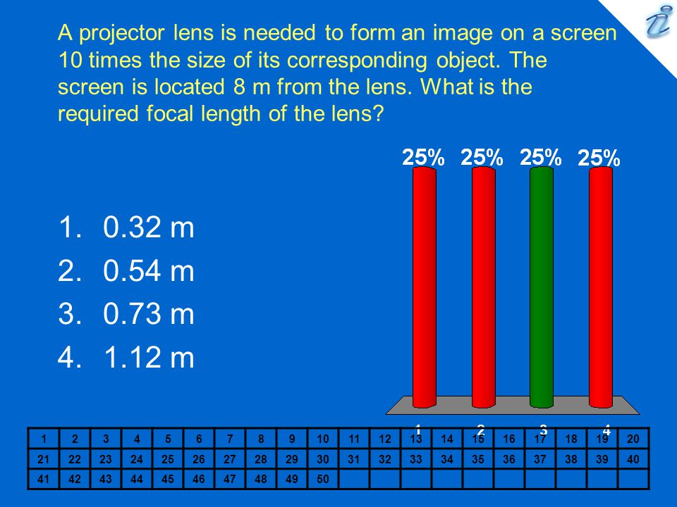 A projector lens is needed to form an image on a screen 10 times the size of its corresponding object. The screen is located 8 m from the lens. What is the required focal length of the lens