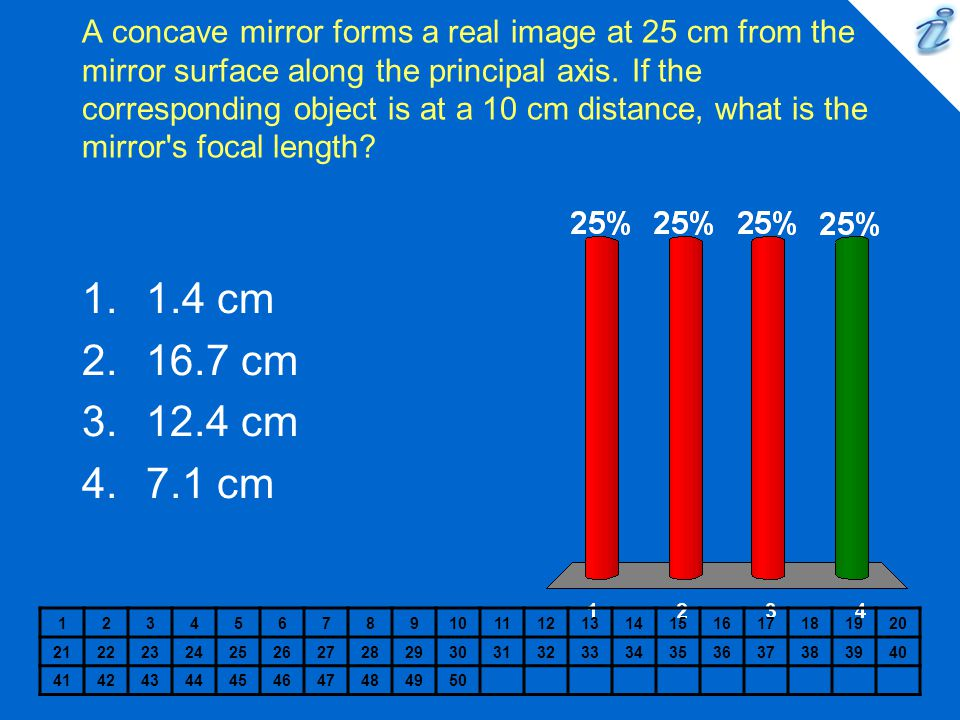 A concave mirror forms a real image at 25 cm from the mirror surface along the principal axis. If the corresponding object is at a 10 cm distance, what is the mirror s focal length