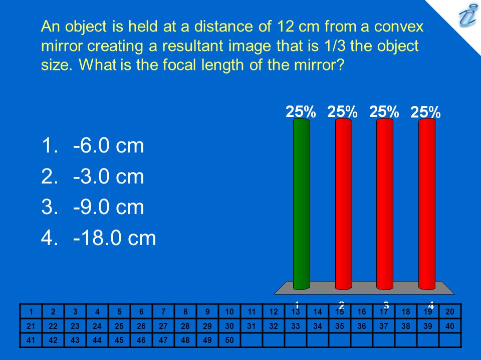 An object is held at a distance of 12 cm from a convex mirror creating a resultant image that is 1/3 the object size. What is the focal length of the mirror