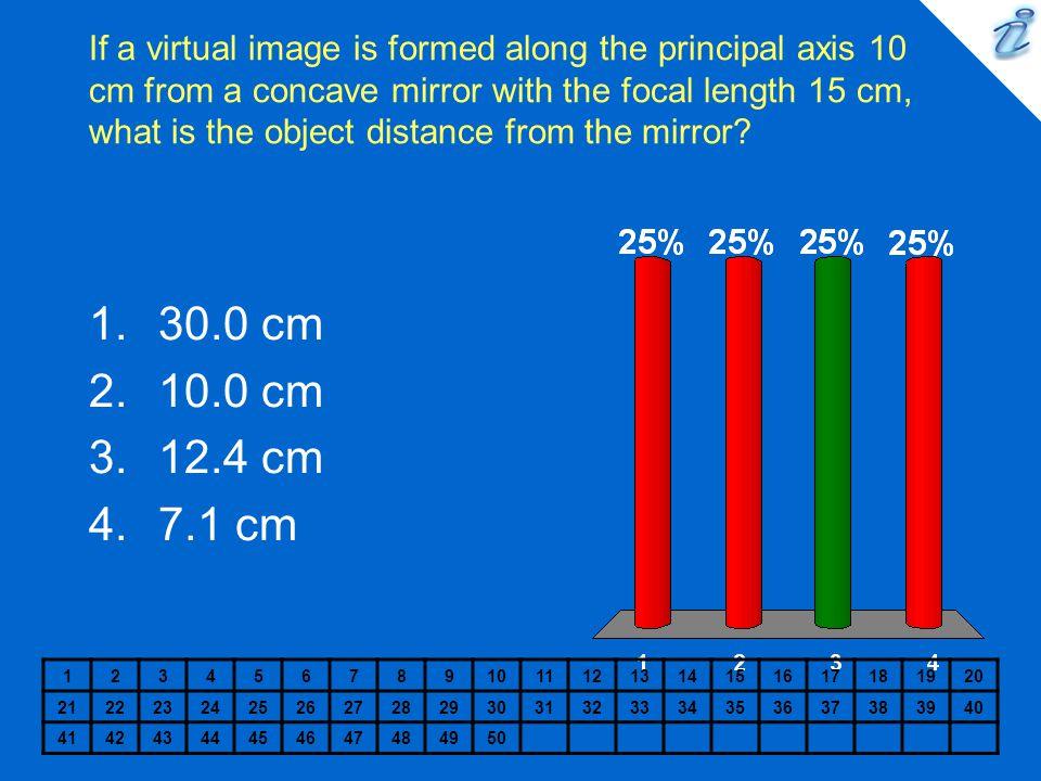 If a virtual image is formed along the principal axis 10 cm from a concave mirror with the focal length 15 cm, what is the object distance from the mirror