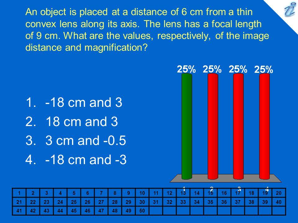 -18 cm and 3 18 cm and 3 3 cm and -0.5 -18 cm and -3