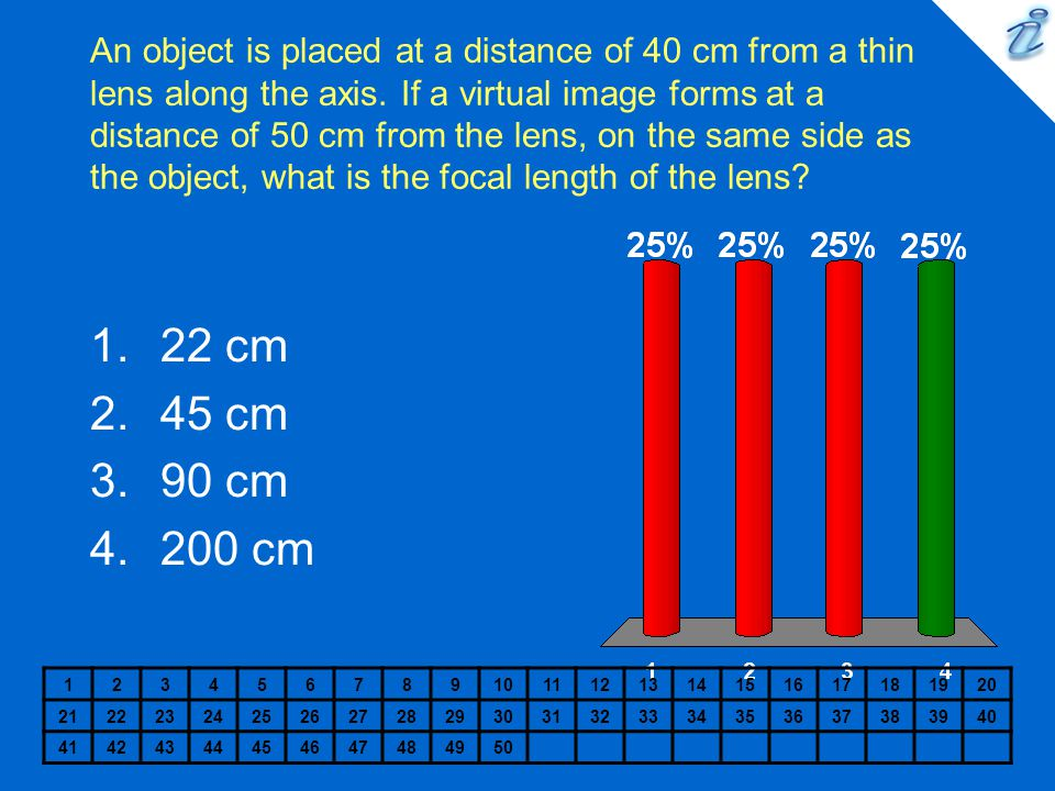 An object is placed at a distance of 40 cm from a thin lens along the axis. If a virtual image forms at a distance of 50 cm from the lens, on the same side as the object, what is the focal length of the lens